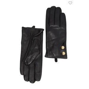 🆕 NWT 🖤 MK Leather Logo Dome Button Gloves
